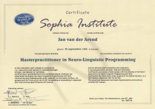 NLP Master Practitioner certificaat